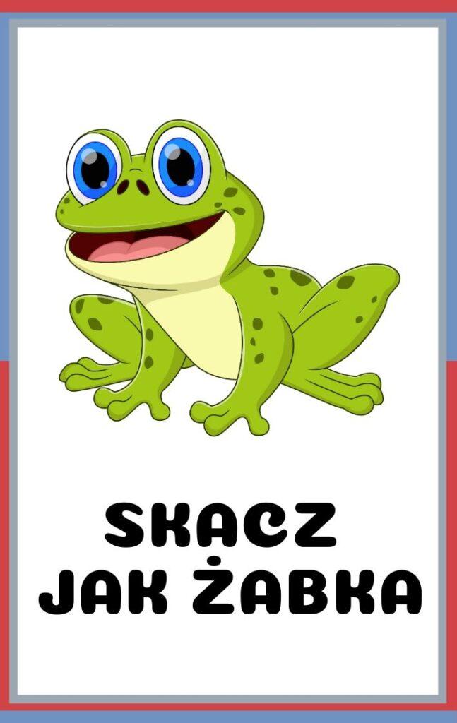 Karty ruchowe dla dzieci do druku - skacz jak żabka