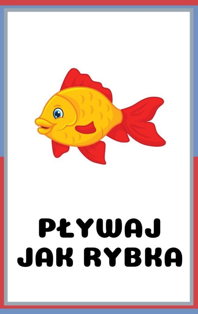 Karty ruchowe dla dzieci do druku - pływaj jak rybka