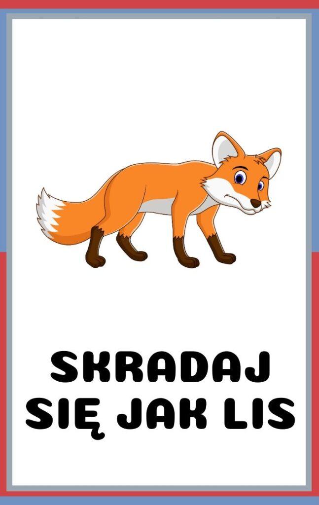 Karty ruchowe dla dzieci do druku - skradaj się jak lis