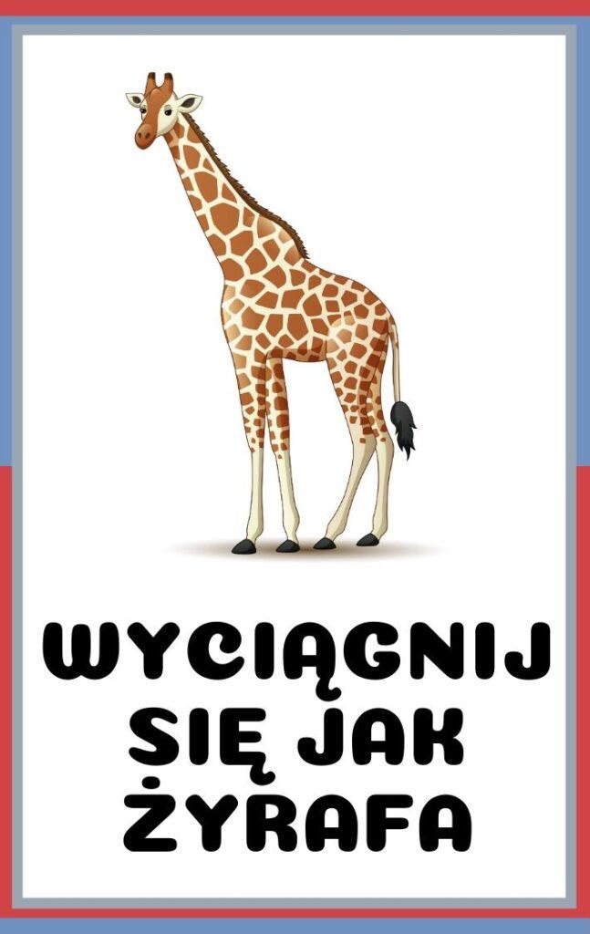 Karty ruchowe dla dzieci do druku - wyciągnij się jak żyrafa