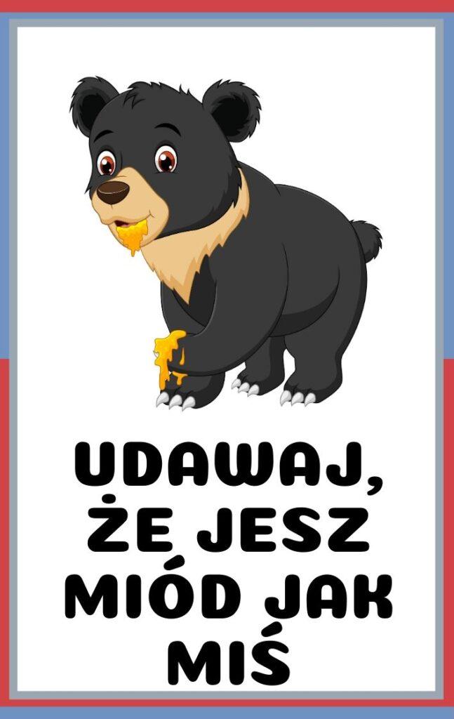 Karty ruchowe dla dzieci do druku - udawaj, że jesz miód jak niedźwiedź