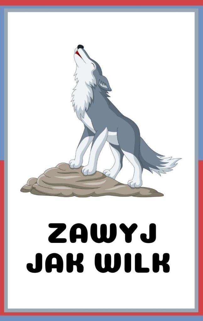 Karty ruchowe dla dzieci do druku - zawyj jak wilk