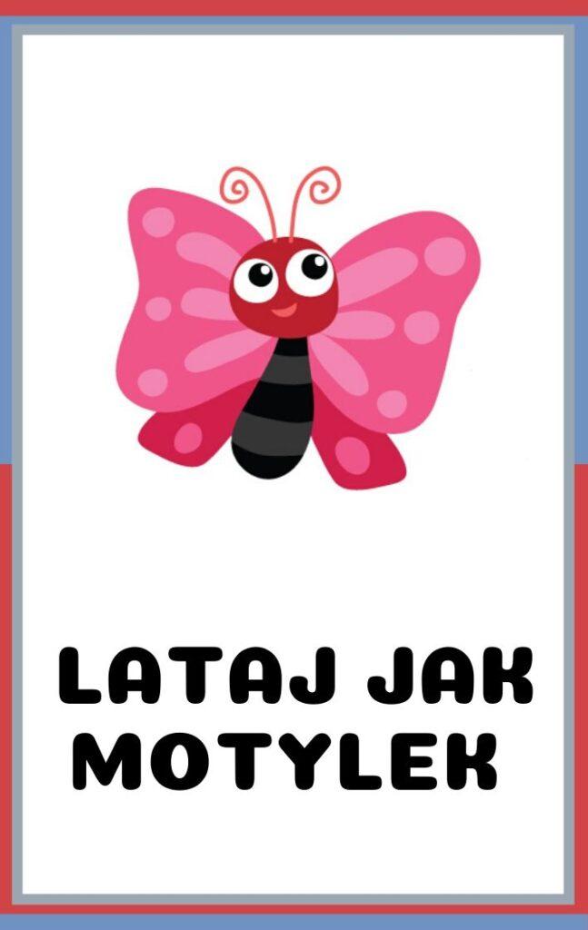 Karty ruchowe dla dzieci do druku - lataj jak motylek