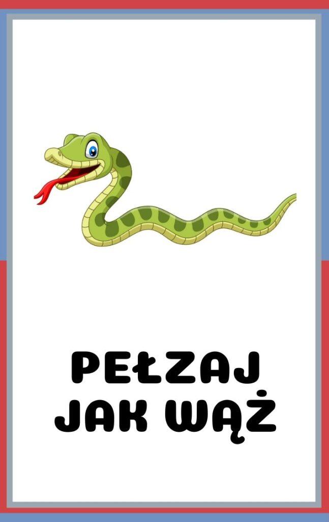 Karty ruchowe dla dzieci do druku - pełzaj jak wąż