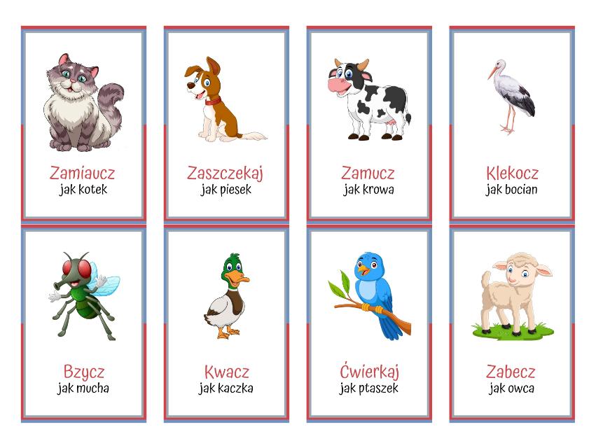 Karty ruchowe - dzwieki zwierząt