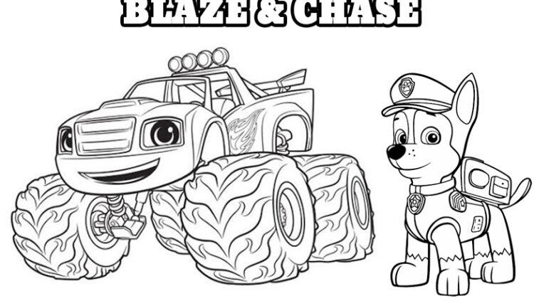 Kolorowanka Blaze i Chase z bajki Psi Patrol