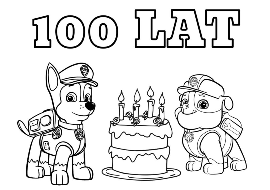 Kolorowanka Psi Patrol do druku - 100 lat