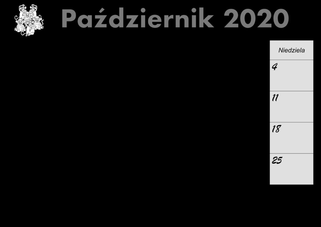 Kalendarz Październik 2020 do druku
