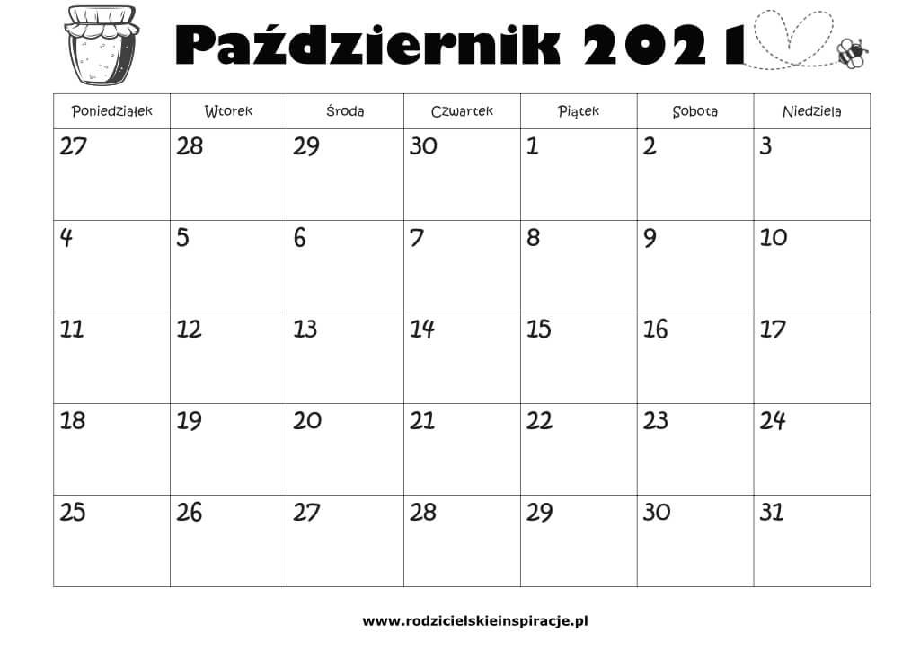 kalendarz pazdziernik do druku