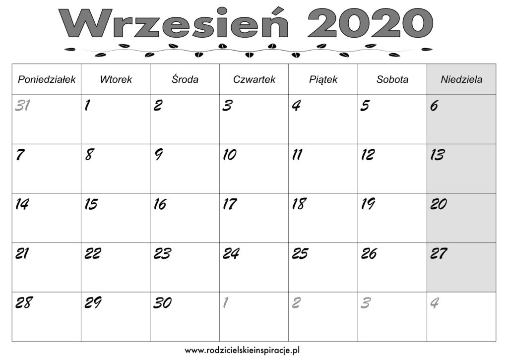 Kalendarz Wrzesień 2020 do druku PDF