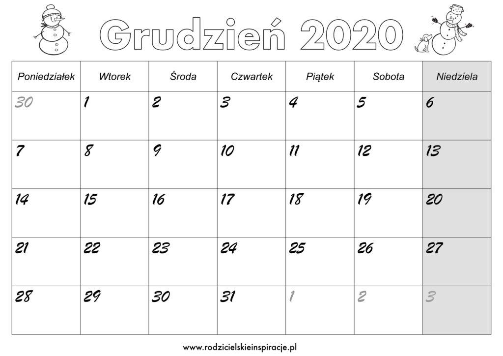 Grudzień 2020 kalendarz do druku