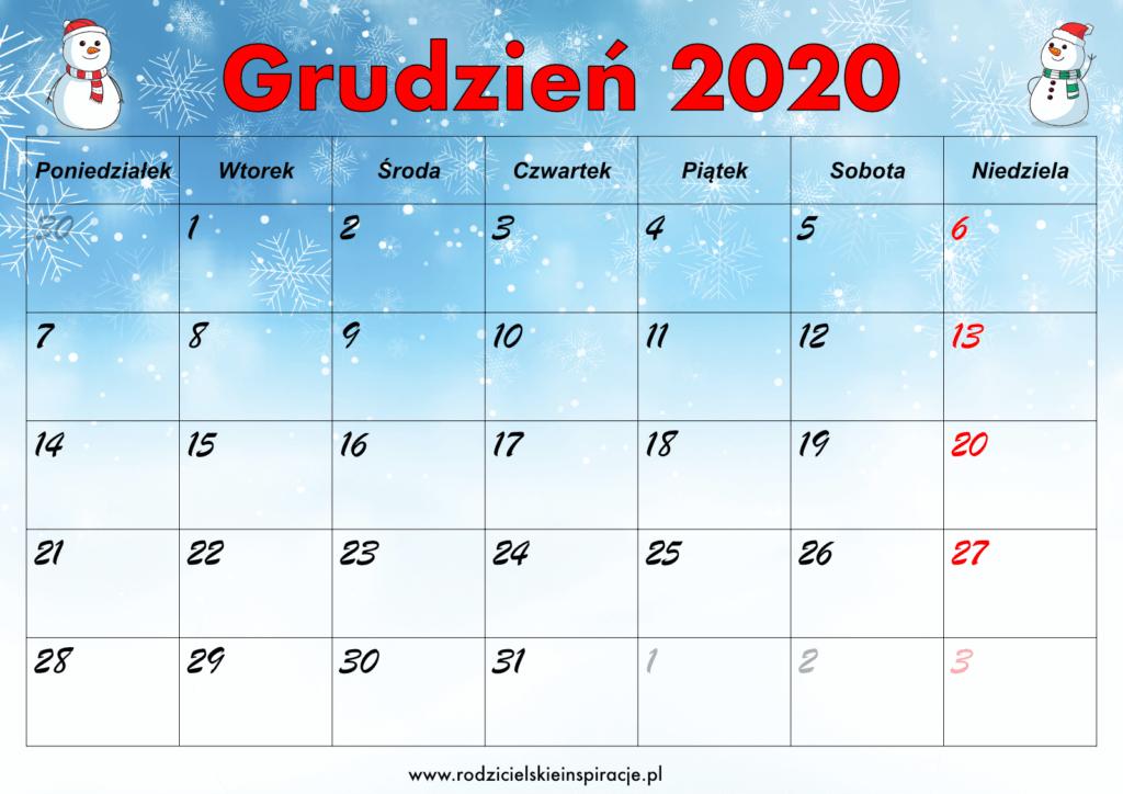 Kalendarz Grudzień 2020 do druku