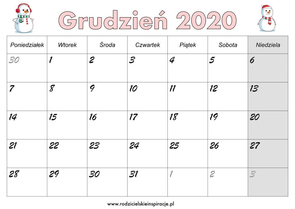 Grudzień 2020 kalendarz PDF