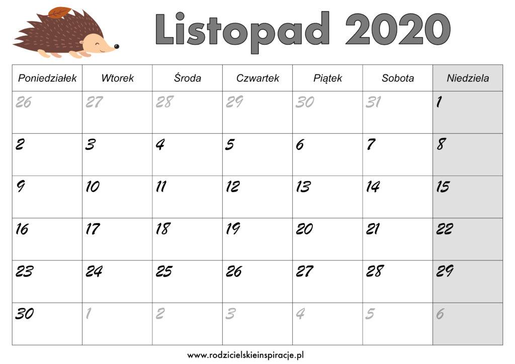 Kalendarz Listopad 2020 do druku