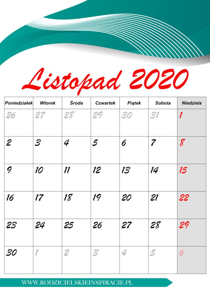 Listopad 2020 kalendarz PDF
