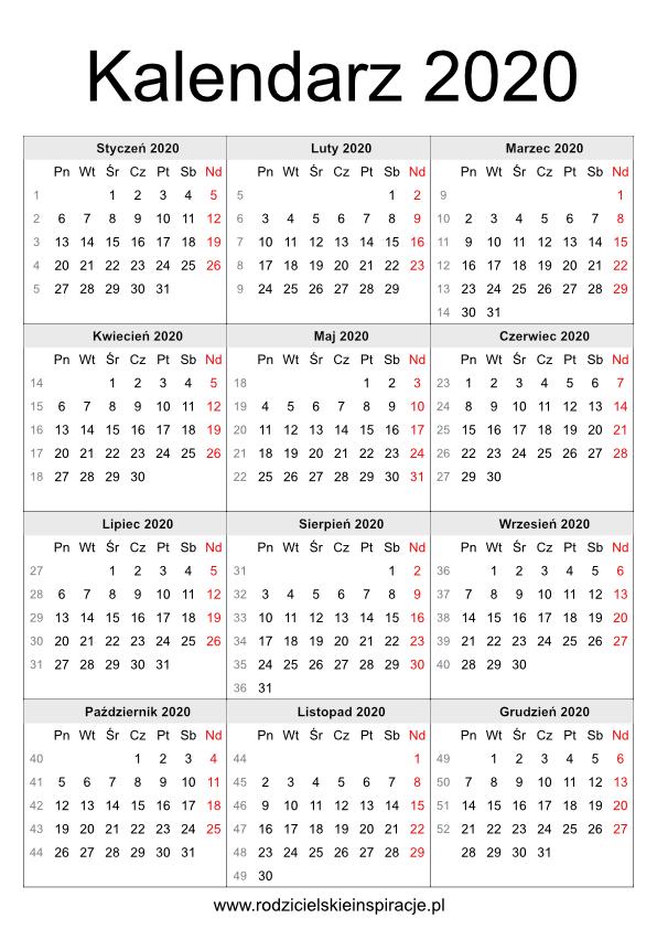 Kalendarz 2020 z tygodniami do druku PDF