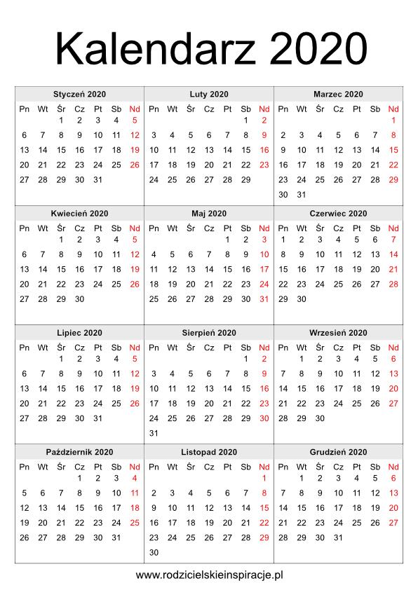 Kalendarz 2020 do wydruku