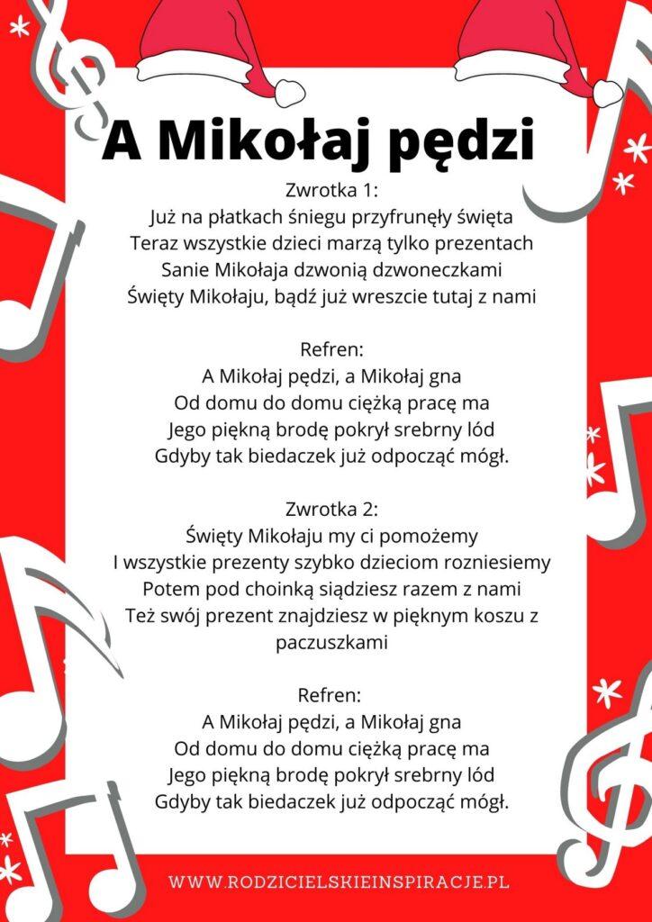 A Mikołaj pędzi tekst piosenki