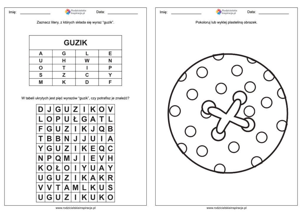 Dzień Guzika karty pracy dla przedszkolaków