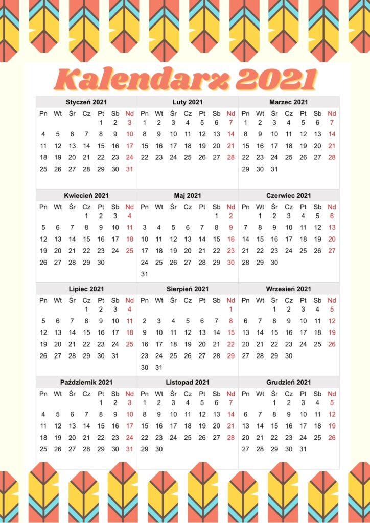 Kalendarz 2021 do druku - kolorowy