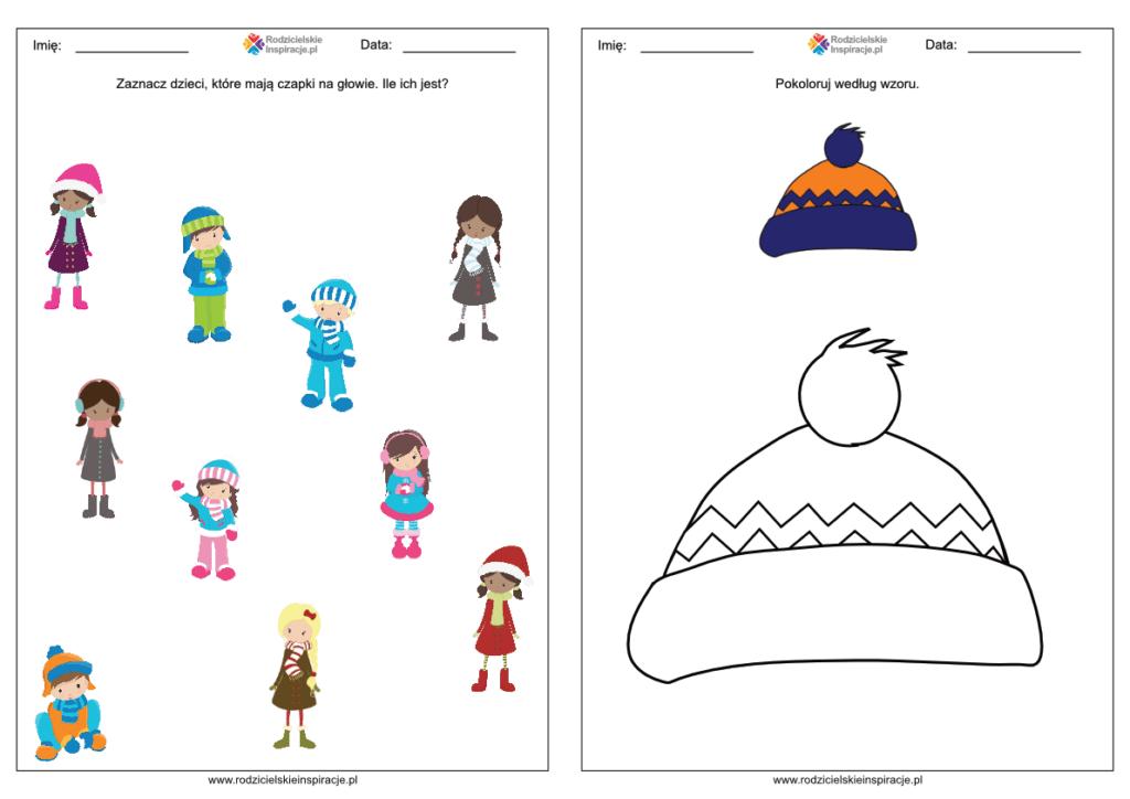 Zima karty pracy dla dzieci przedszkole