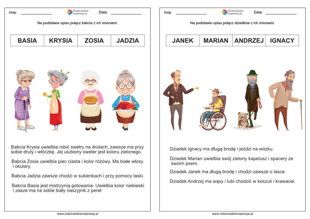 Dzień Babci i Dziadka karty pracy za darmo do przedszkola