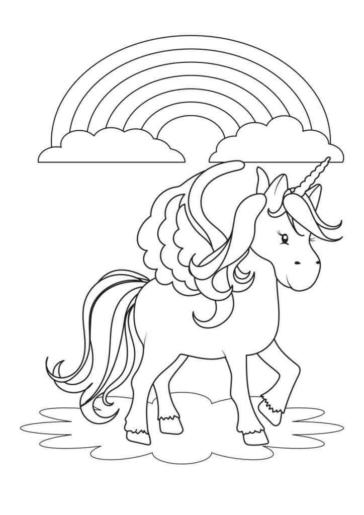 Jednorożec kolorowanka do druku. Unicorn