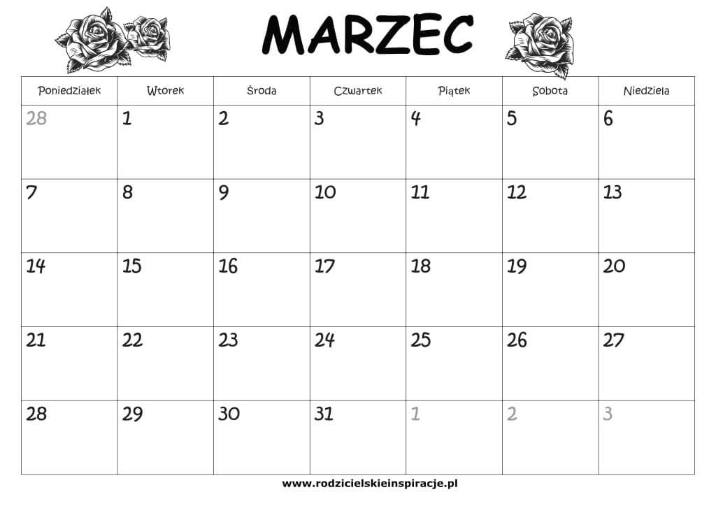 Kalendarz marzec 2021 do druku