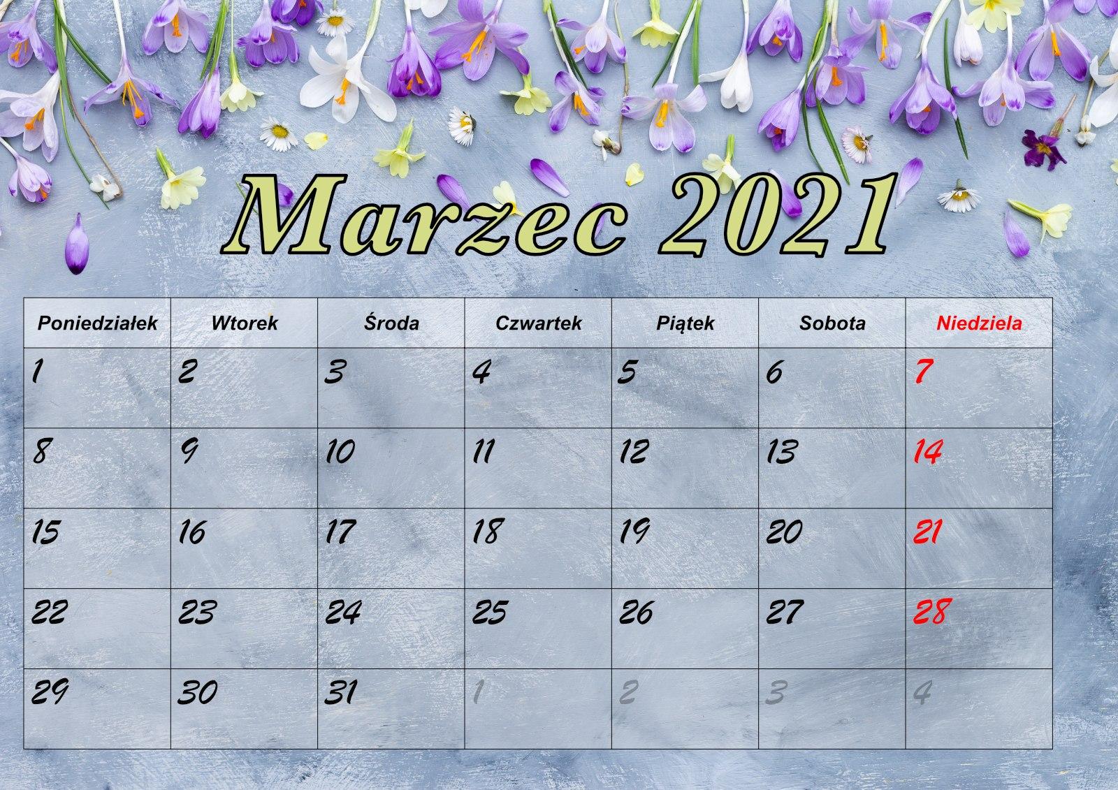 Kolorowy Kalendarz marzec 2021. PDF do druku (A4 poziomo)