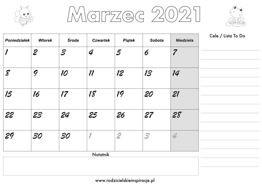Planer marzec 2021 - kalendarz do druku