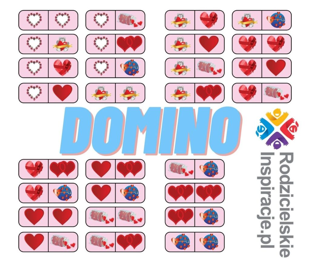 Walentynki Domino do druku