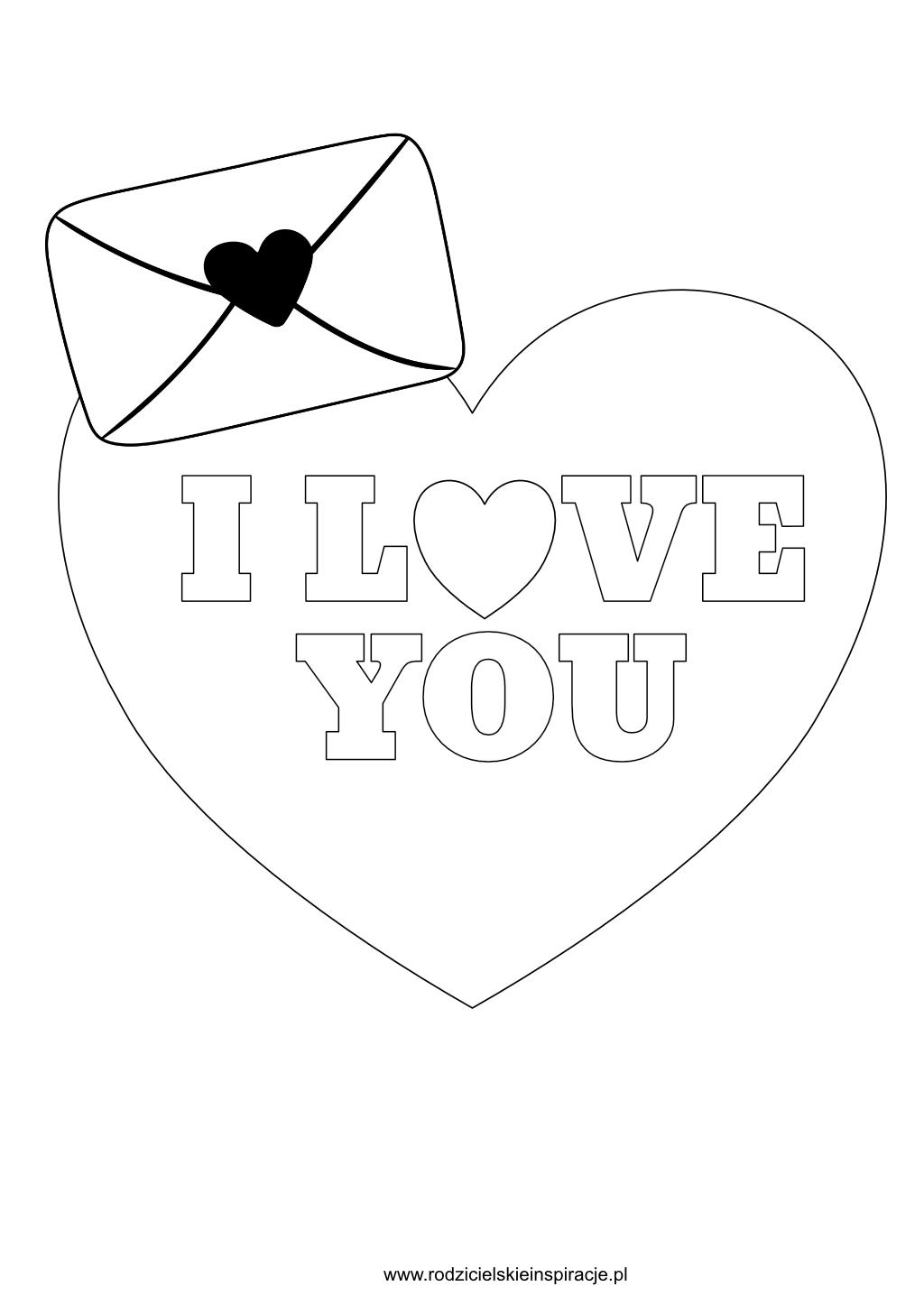 Kolorowanka walentynki - I Love You