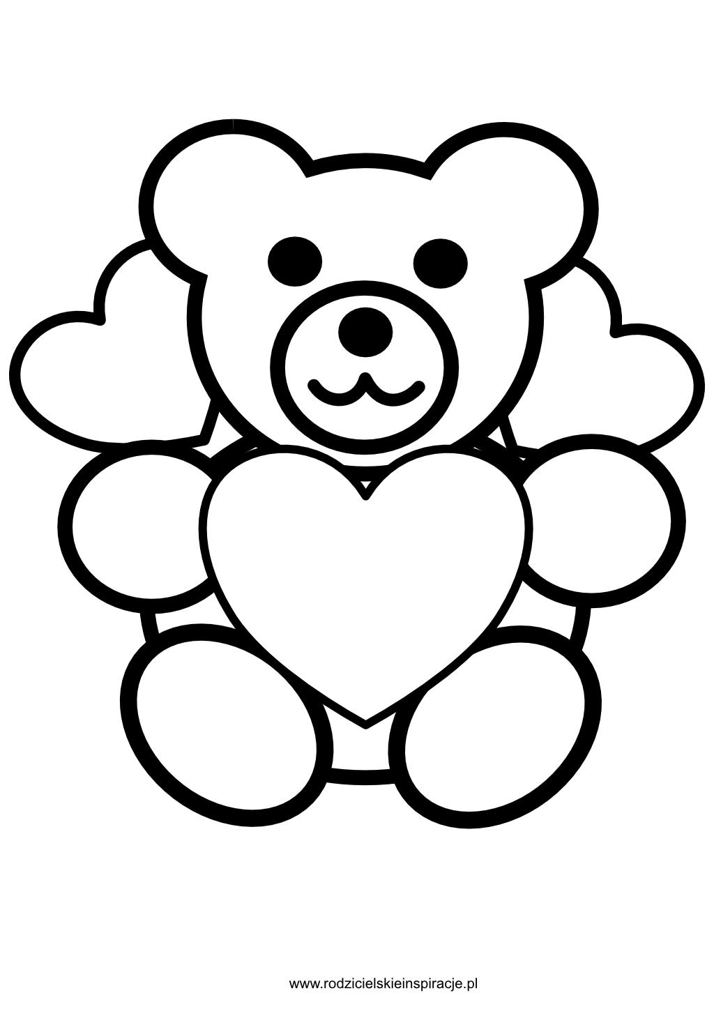 Miś serce - kolorowanka do druku na walentynki