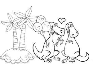 Kolorowanka walentynki - Dinozaury