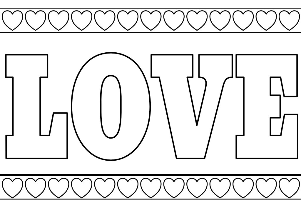 Kolorowanka walentynki - LOVE