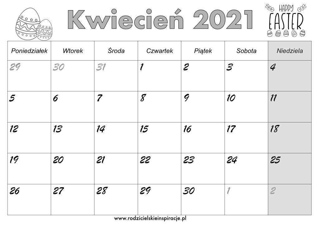 Kalendarz kwiecień 2021 do druku (PDF)
