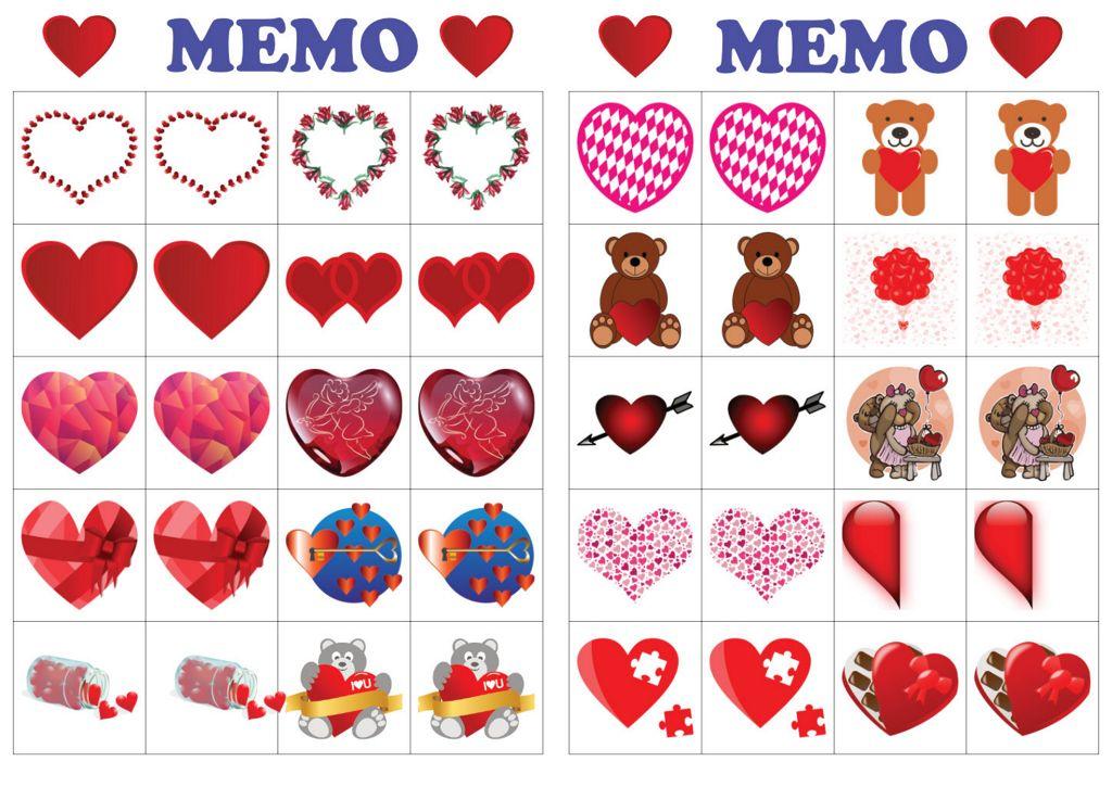 Walentynki Memo do druku