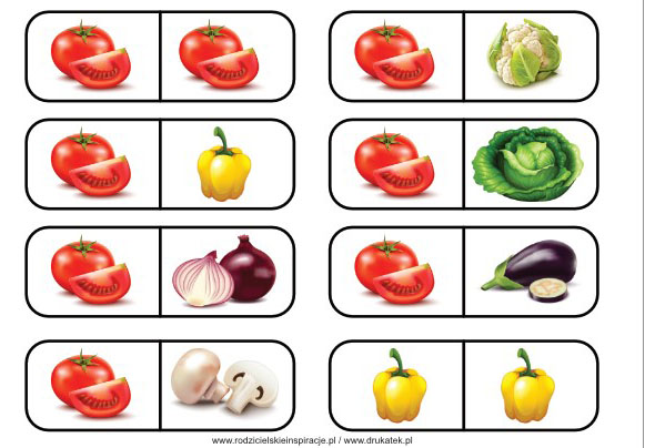 Warzywa domino do druku