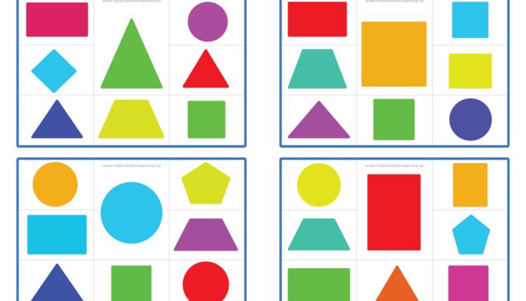 Figury geometryczne karty klamerkowe
