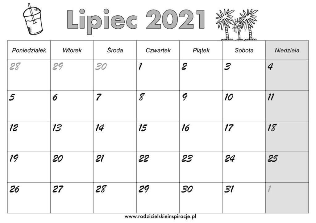 Kalendarz lipiec 2021 do druku
