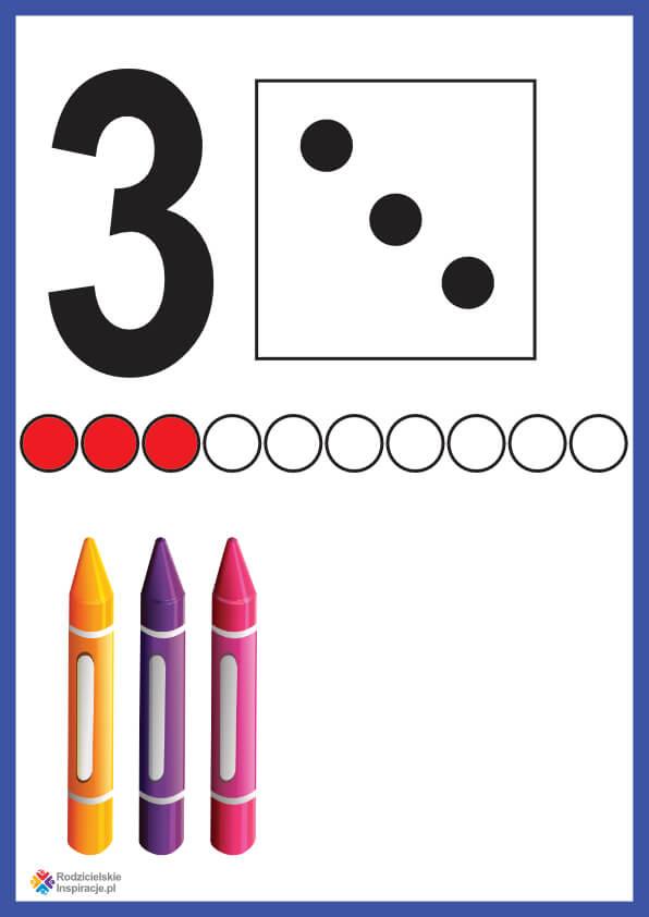 Cyfra 3 karta pokazowa do druku