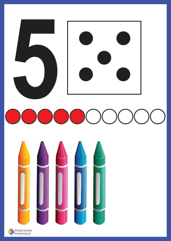 Cyfra 5 karta pokazowa do druku