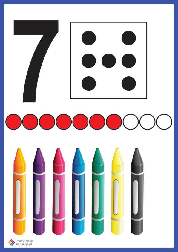 Cyfra 7 karta pokazowa do druku