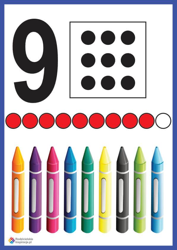 Cyfra 9 karta pokazowa do druku