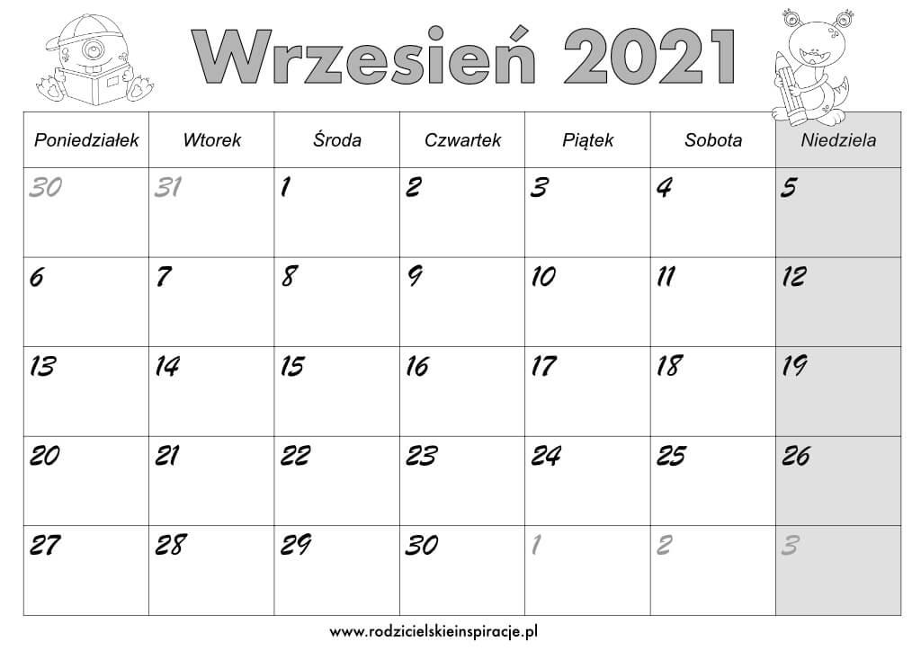 Kalendarz 2021 wrzesień