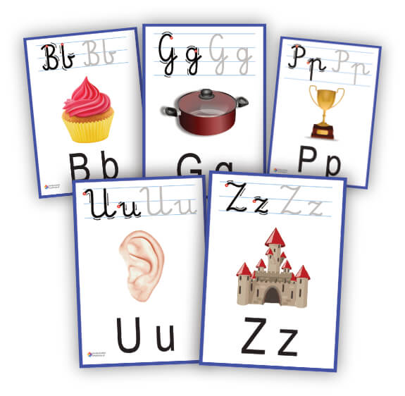 litery karty pokazowe do druku