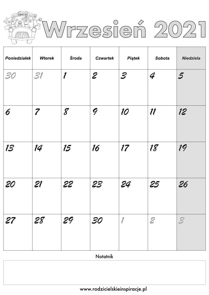 kalendarz wrzesień 2021 do druku