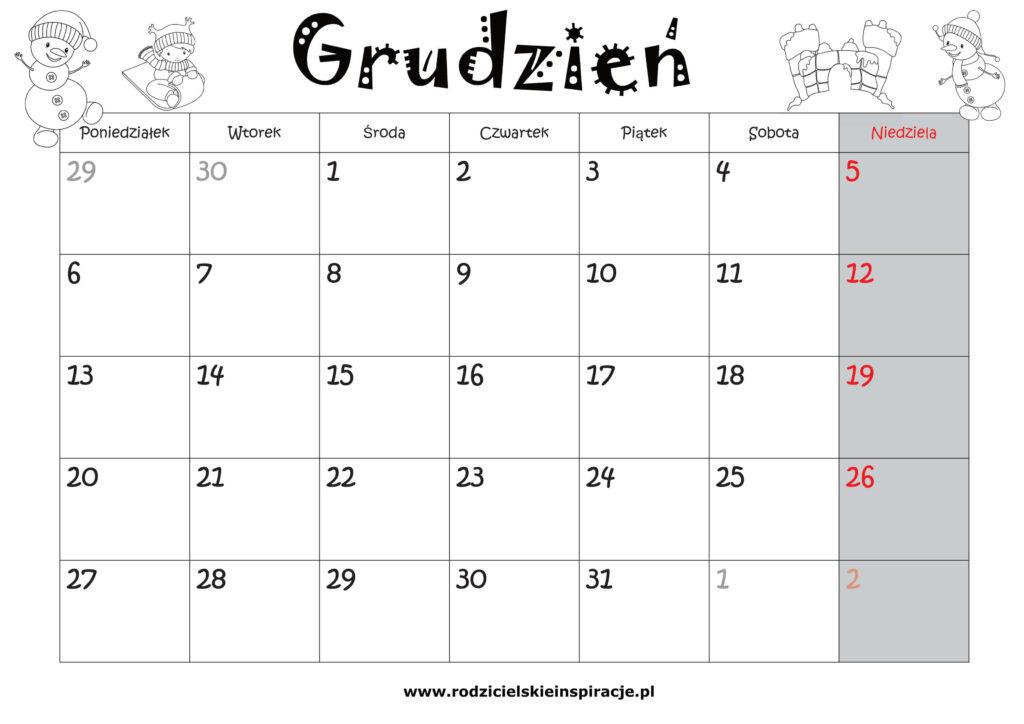 grudzien kalendarz